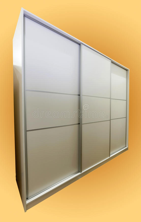 Closet. White closet with three sliding doors, made of laminated chipboard stock images