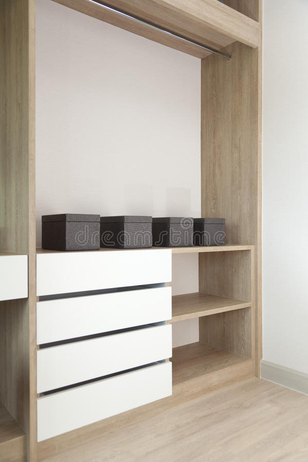 Closet with Built In Shelving. And boxes royalty free stock image