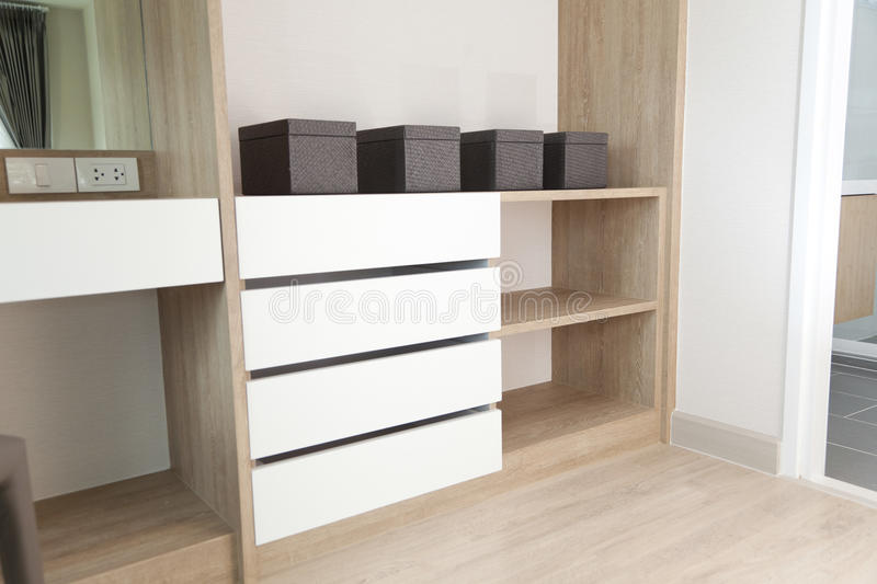 Closet with Built In Shelving. And boxes stock images