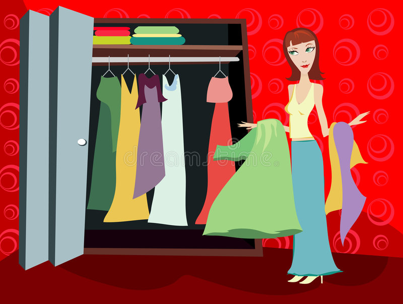 Closet of Clothes - Brunette stock illustration