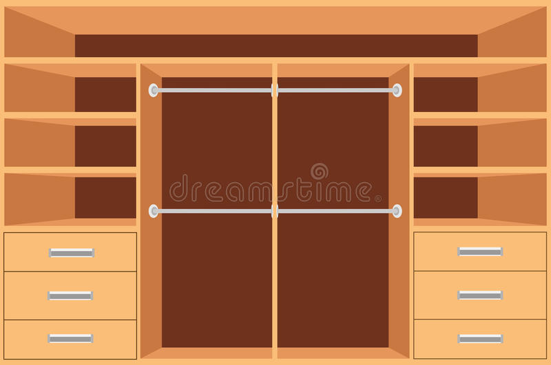 Closet, Wardrobe with shelves and drawers. Empty cupboard, Furniture interior design, Wardrobe room, vector illustration. Closet, Wardrobe with shelves and royalty free illustration
