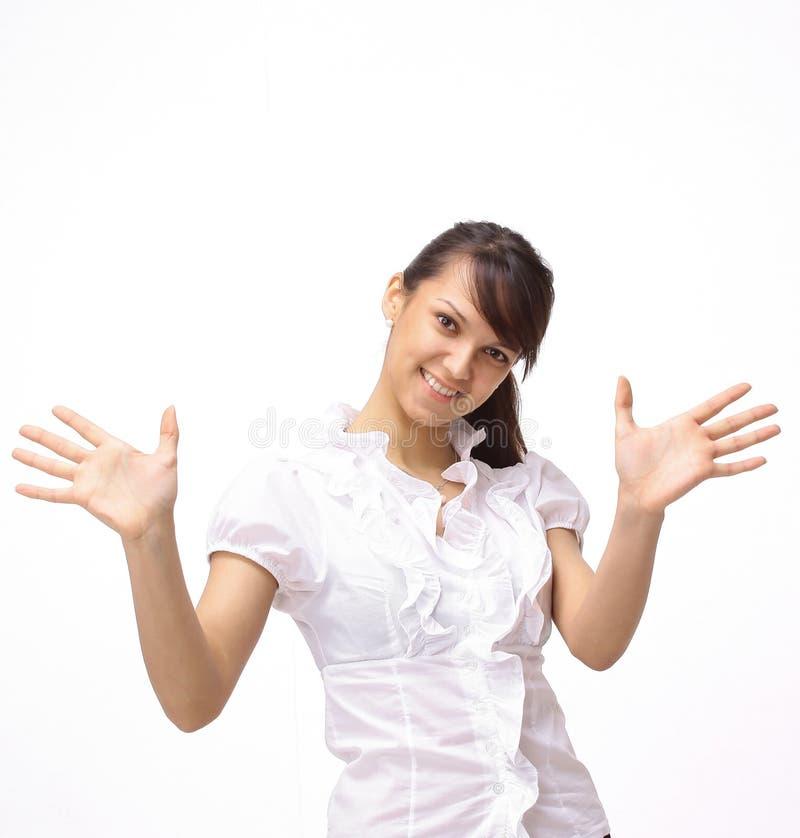 closeup επιτυχής νέα γυναίκα που παρουσιάζει ανοικτά χέρια στοκ φωτογραφίες