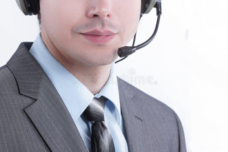 closeup πορτρέτο ενός τηλεφωνικού κέντρου υπαλλήλων Απομονωμένος στο λευκό στοκ εικόνα με δικαίωμα ελεύθερης χρήσης