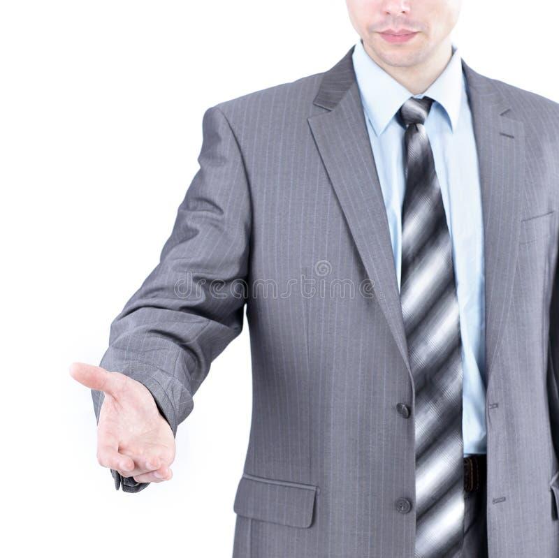 closeup добро пожаловать к бизнесмену рукопожатия изолированный на свете стоковые изображения rf