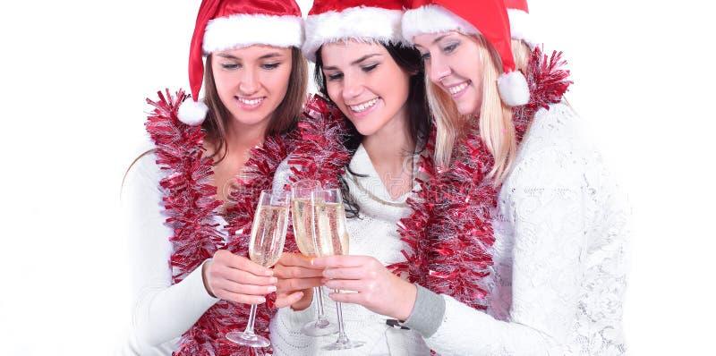 closeup 3 молодой женщины с стеклами шампанского стоковые фотографии rf