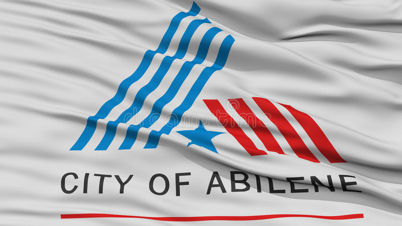 Closeup of Abilene City Flag. Waving in the Wind, Texas State, United States of America stock illustration