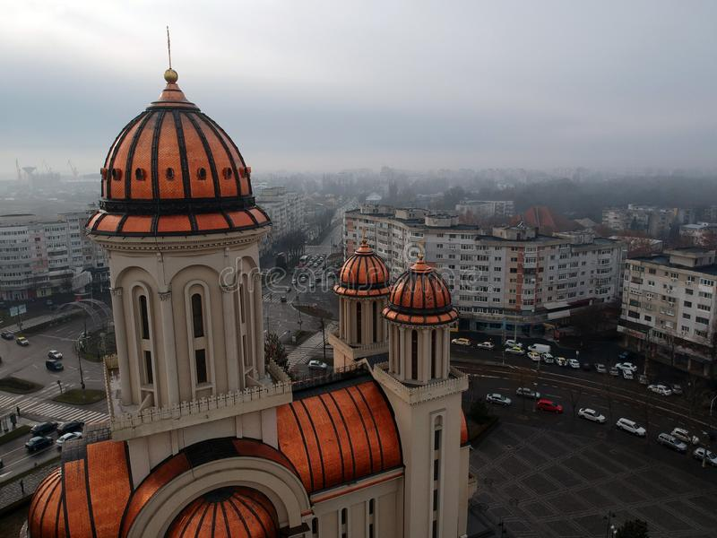 Closeup Aerial View Of The Orthodox Cathedral Of Braila City stock photos