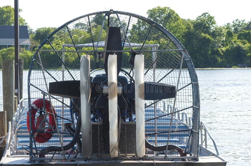Closeup of Airboat at Pier. Airboat or swamp boat closeup docked at pier royalty free stock image