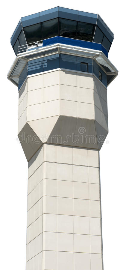 Closeup of Airport Air Traffic Control Tower Isolated. Closeup of an airport air traffic control tower. The structure is isolated on white stock photo