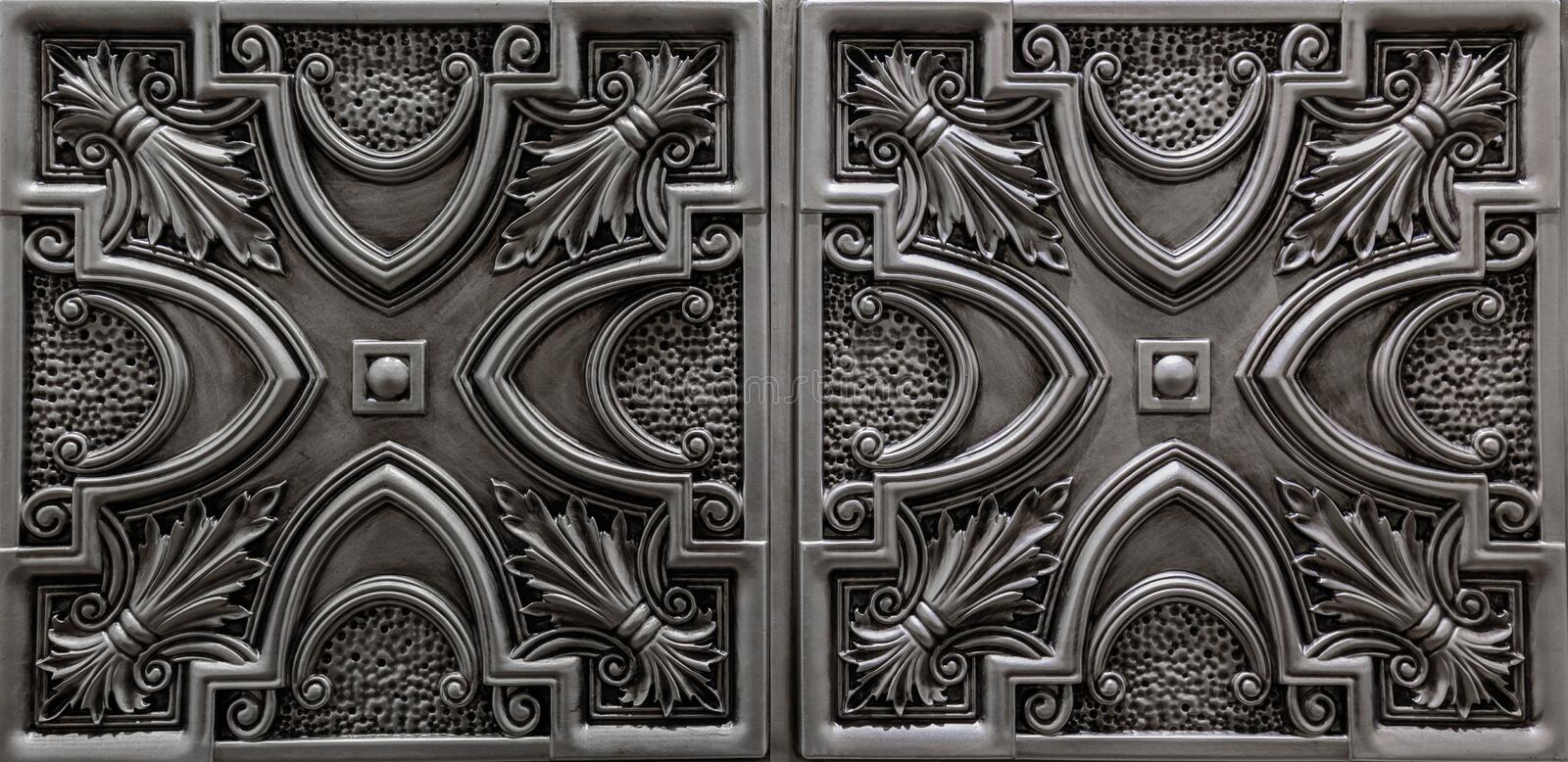 Nice amazing luxury view of textured detailed, dark silver, metallic ceiling tiles background royalty free stock images