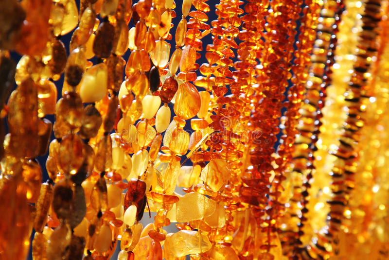 Closeup of amber jewelry royalty free stock image
