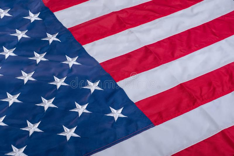 American flag close up. Closeup of American flag background royalty free stock image