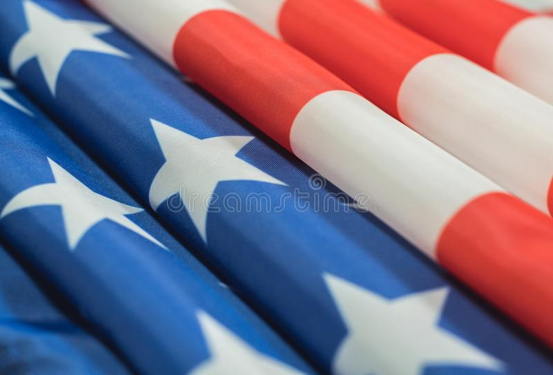 Closeup of American flag stock image