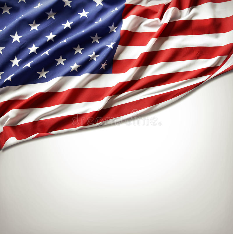 American flag. Closeup of American flag on plain background royalty free stock photo