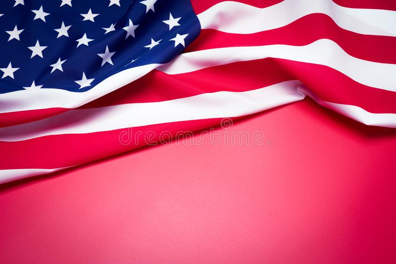 Closeup of American flag on red background. stock photo