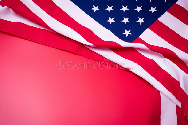 Closeup of American flag on red background. stock image