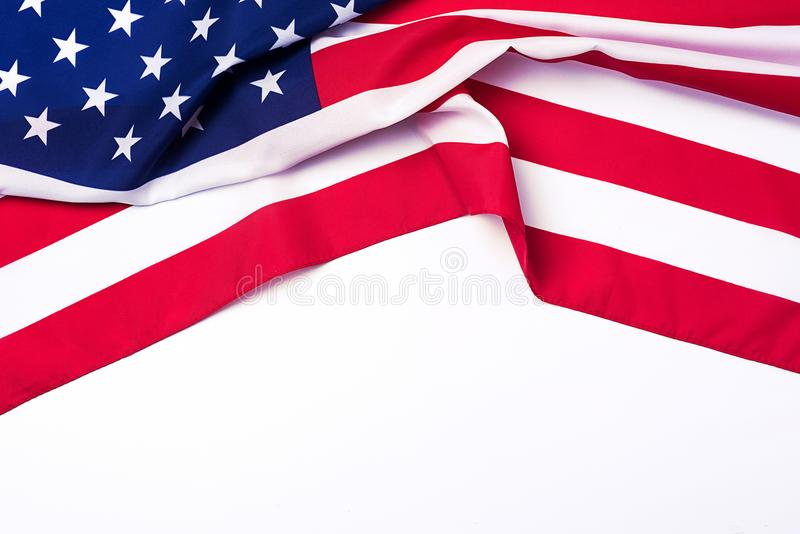 Closeup of American flag on white background. royalty free stock image