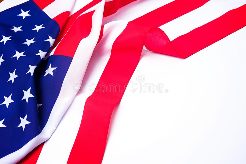 Closeup of American flag on white background. royalty free stock photo