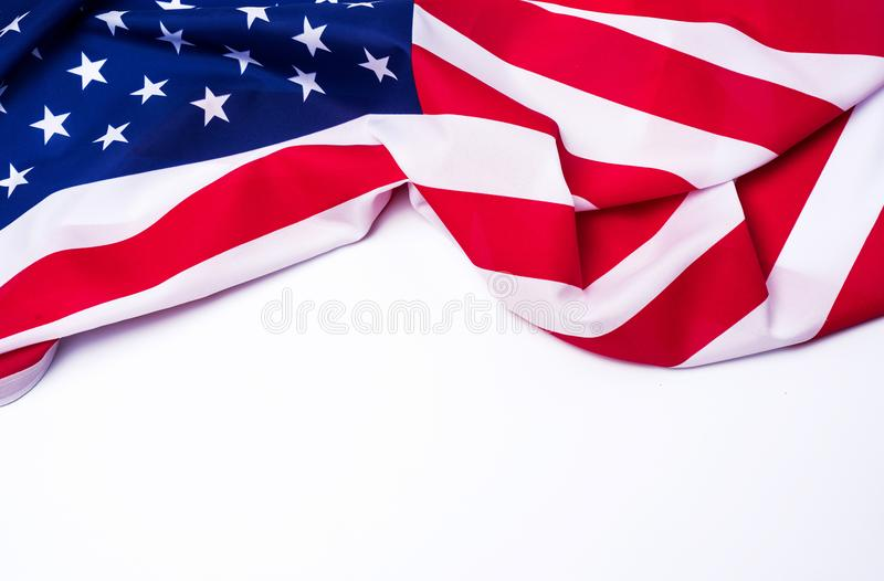 Closeup of American flag on white background.  stock images