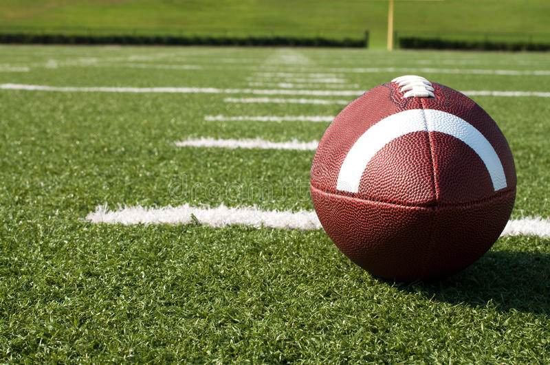 Download Closeup Of American Football On Field Stock Photo - Image: 15636662