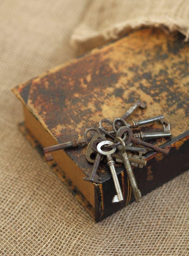 Closeup of ancient keys on old folio. Secret studies concept. Historical studies concept stock images