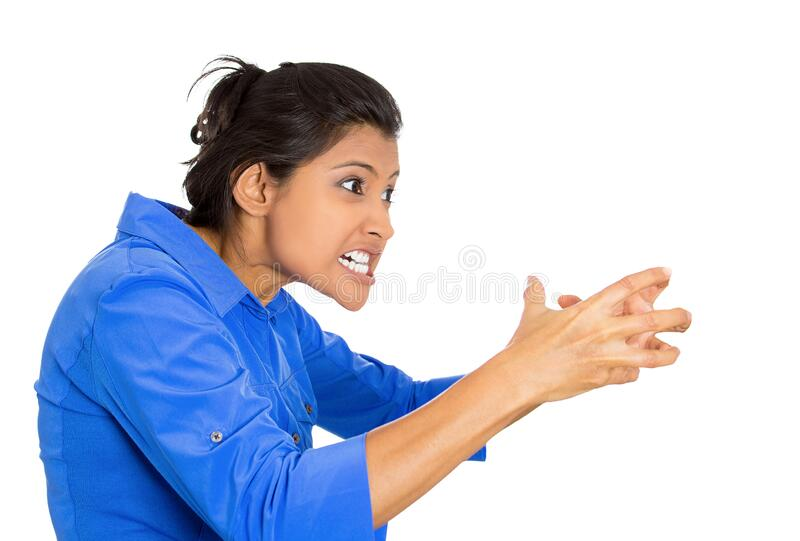 Closeup of an angry woman screaming being hysterical stock photos