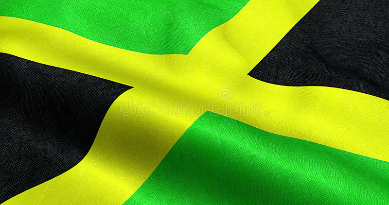 Closeup Of Animation Waving Jamaica Flag Cross Stripes National