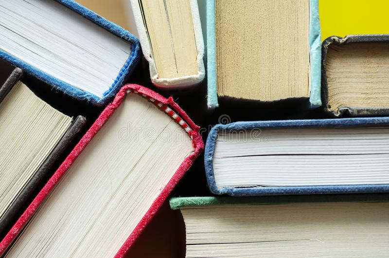 Closeup of antique books educational, academic and literary concept royalty free stock images