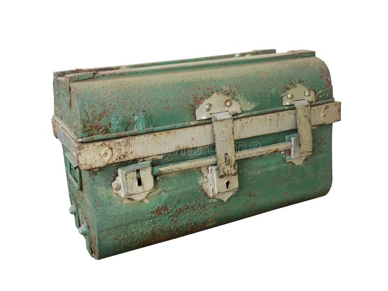 Closeup antique Green steel chest on white background, copy space royalty free stock image