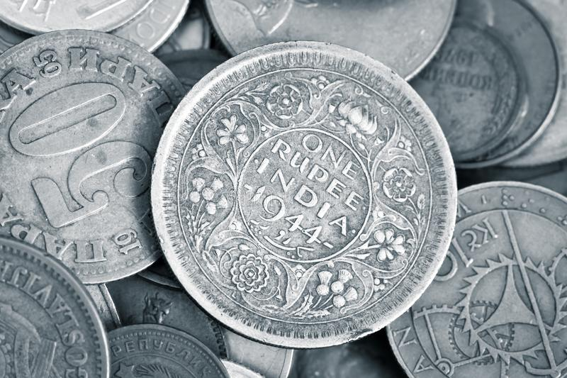 Closeup of antique numismatic coins royalty free stock image