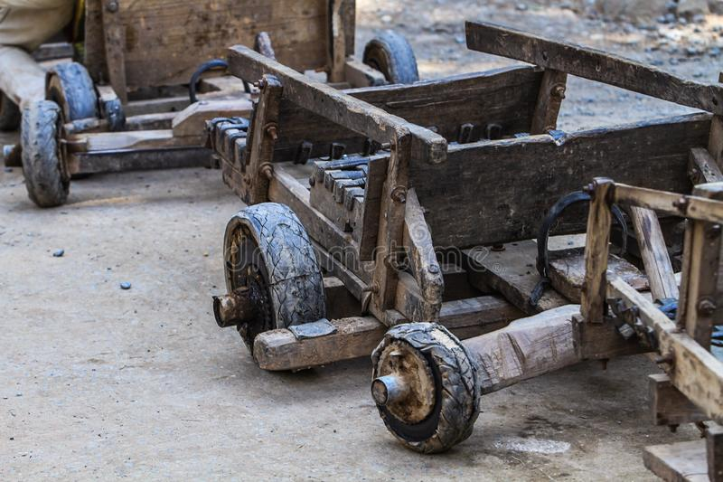 Antique sliding carts The way of the villagers on the mountain royalty free stock photo