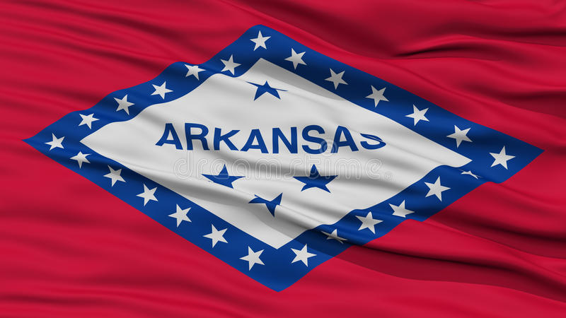 Closeup Arkansas Flag On Flagpole USA State Waving In The Wind High Resolution