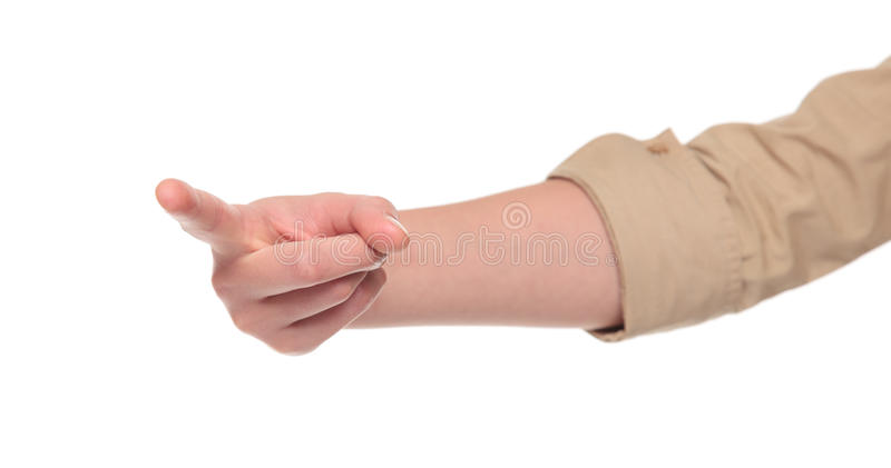 Closeup of arm - finger pointing at view stock images