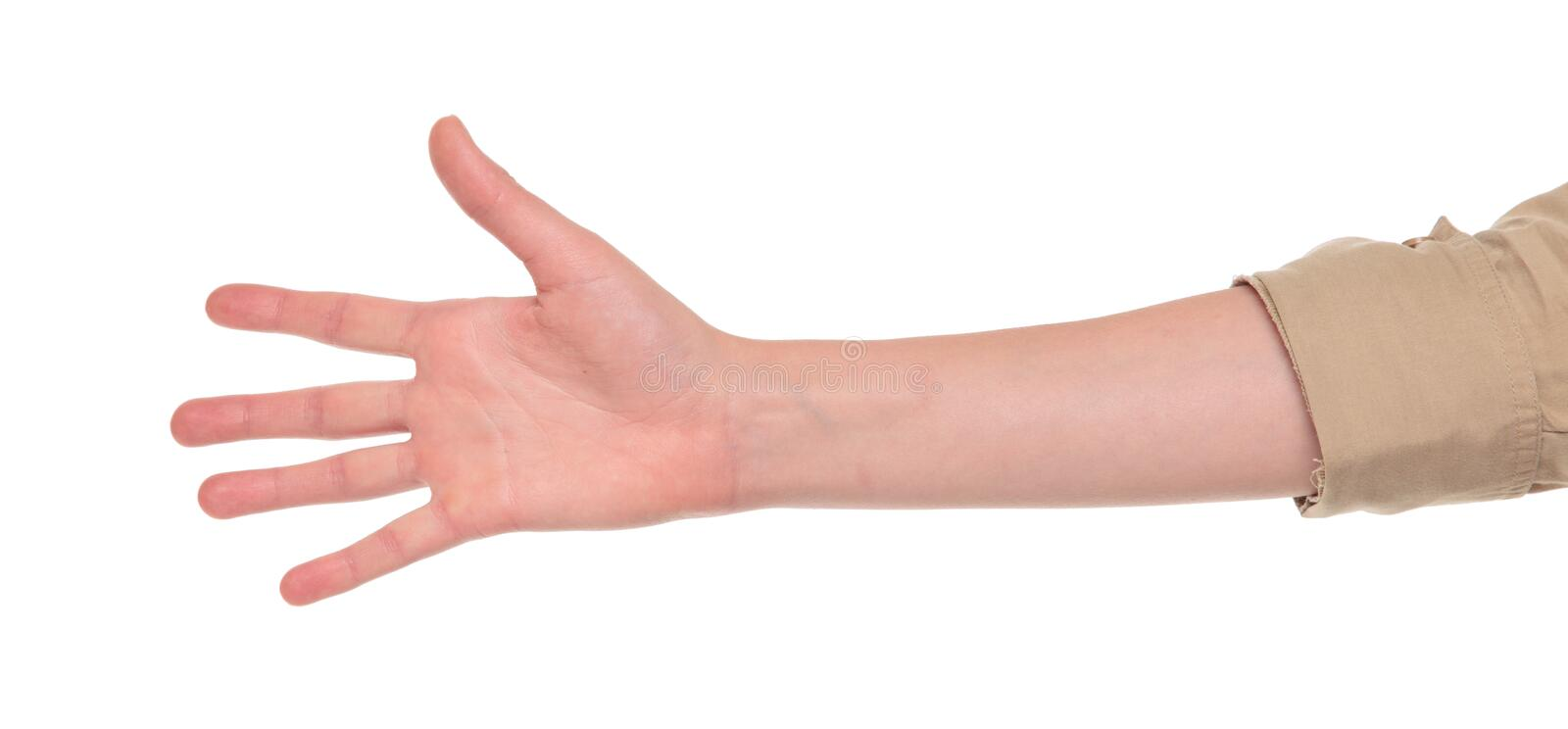 Closeup of arm - hand making number five sign. royalty free stock photos