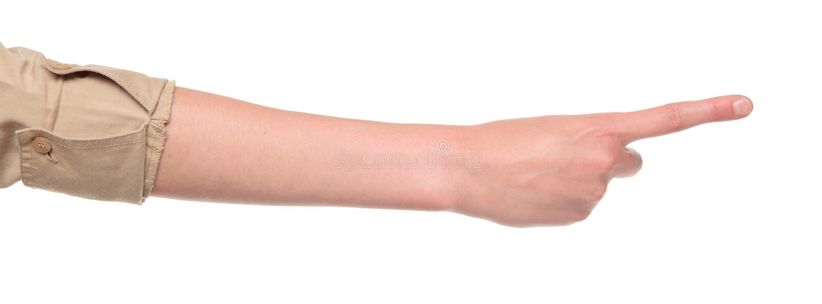Closeup of arm - hand making number one sign. Closeup isolated studio shot of the rear view of a womans outstretched hand in a number one sign stock image