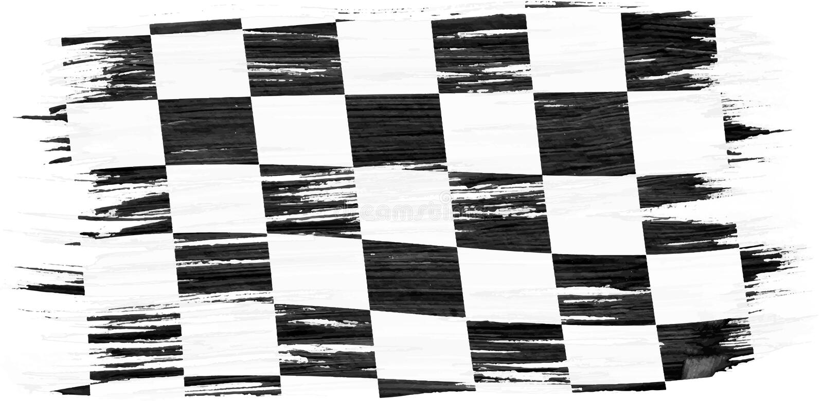 Art brush watercolor painting checkered flag stock illustration