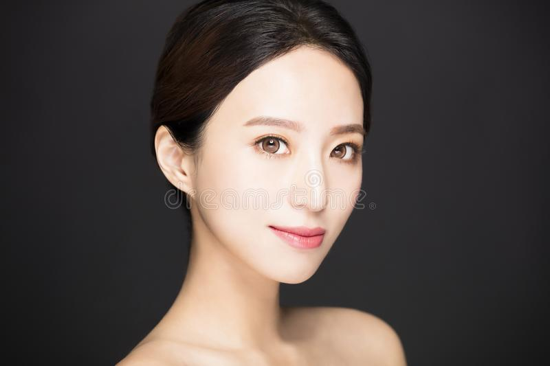Closeup asian beauty face isolated royalty free stock images