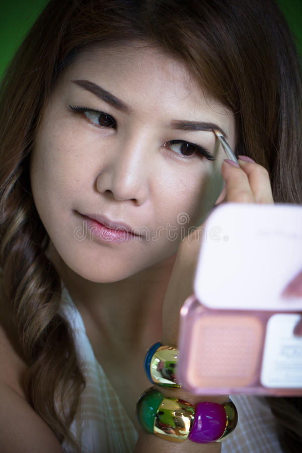 Closeup Asian Beutiful model makeup face. royalty free stock photography