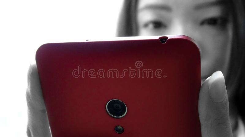 Closeup asian woman used tablet smartphone device stock photography