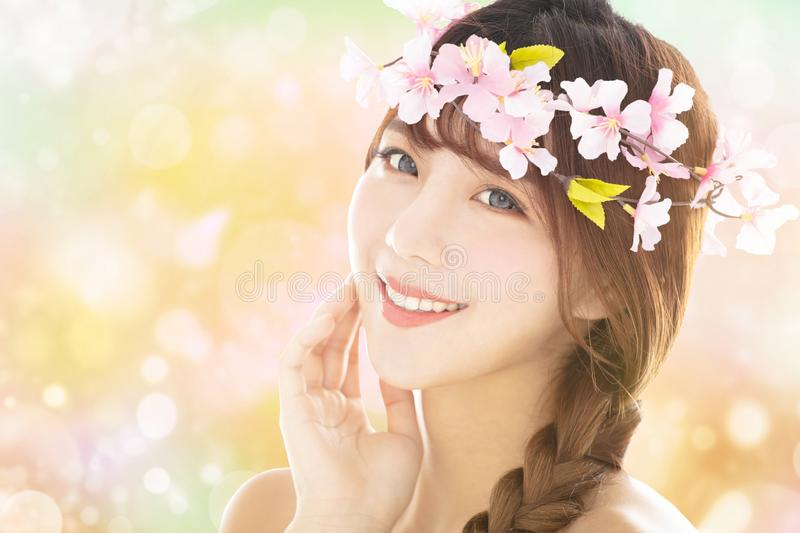 Closeup young beauty face with spring background stock photos