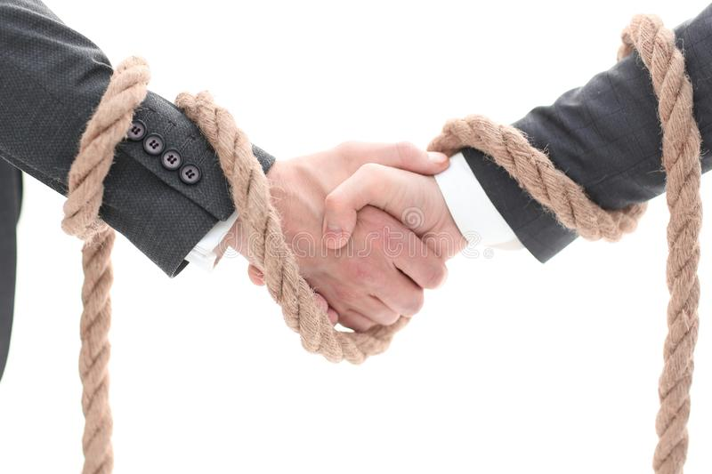 Closeup .the associated handshake business partners. stock images