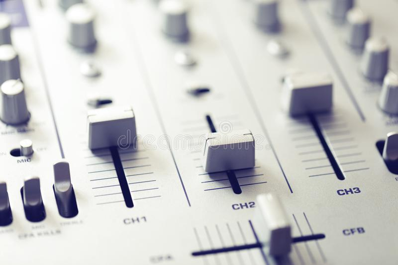 Audio sound mixer. music recording studio equipment royalty free stock image