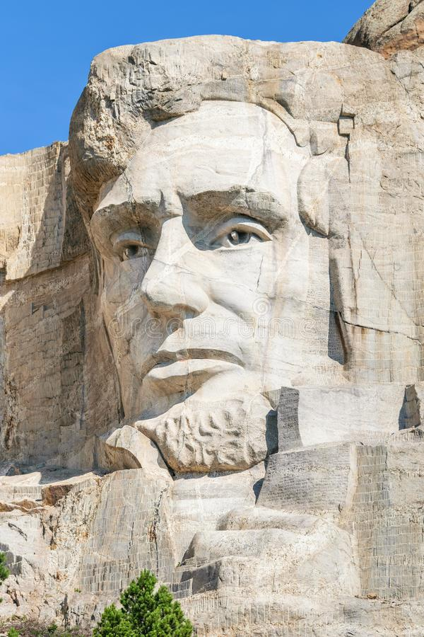 Closeup av Abraham Lincoln Presidents- skulptur på Mount Rushmore den nationella monumentet, South Dakota, USA royaltyfri fotografi