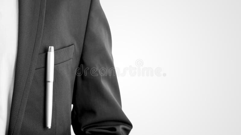 Closeup av affärsmannen, advokaten eller tjänstemannen i en formell affär s royaltyfri fotografi