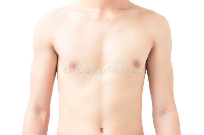 Closeup av bakgrund för ung man för kropp asiatisk vit, hälsovård royaltyfria bilder