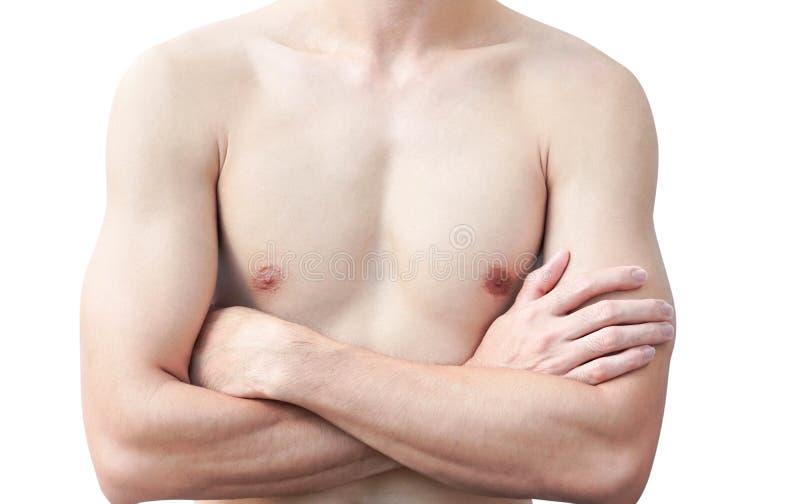 Closeup av bakgrund för ung man för kropphud asiatisk vit, hälsovård och det medicinska begreppet royaltyfri foto