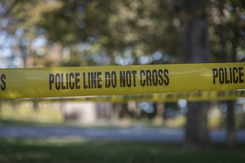 Closeup av brottsplatsbandet arkivfoton
