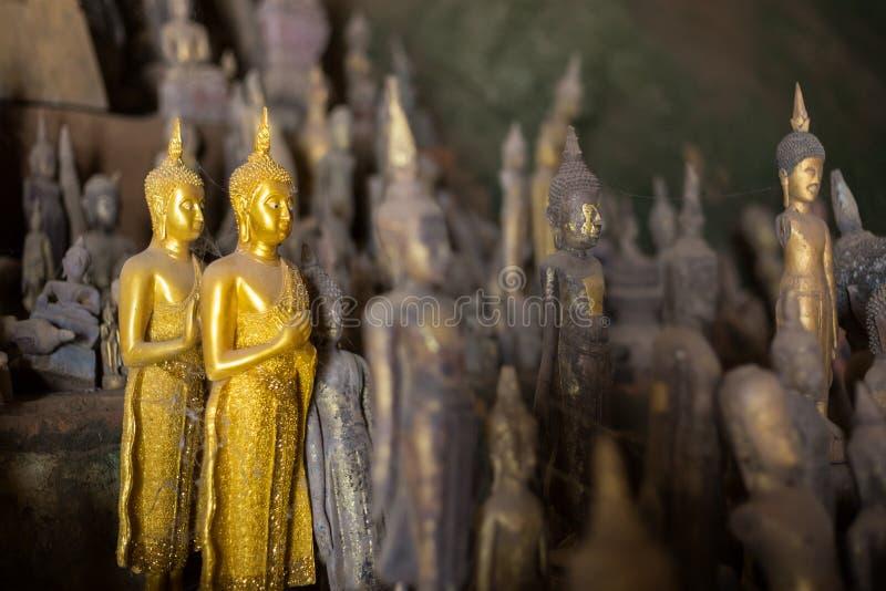 Closeup av Buddhastatyer på Pak Ou Caves arkivfoton