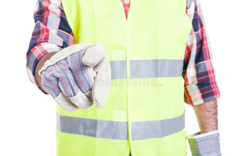 Closeup av byggmästarehanden som pekar på dig royaltyfria foton