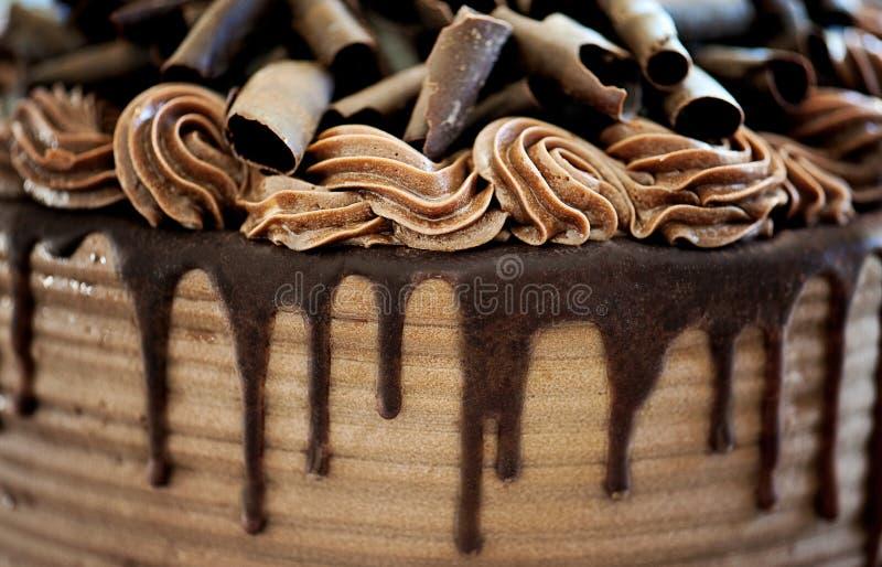 Closeup av chokladkakan arkivfoton